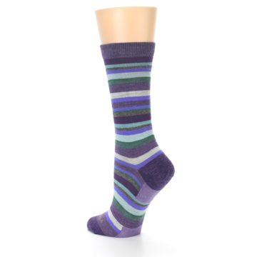 Image of Plum Purple Sassy Stripe Wool Women's Socks (side-2-back-14)