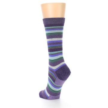 Image of Plum Purple Sassy Stripe Wool Women's Socks (side-2-back-15)