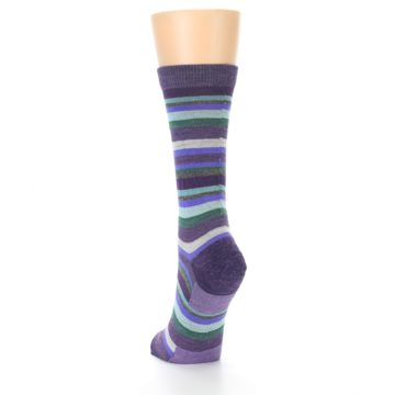 Image of Plum Purple Sassy Stripe Wool Women's Socks (side-2-back-16)