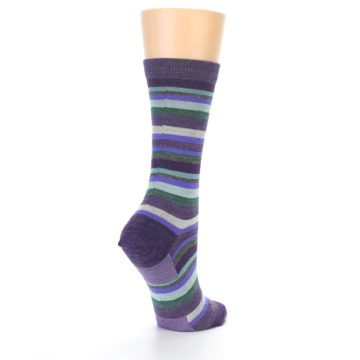 Image of Plum Purple Sassy Stripe Wool Women's Socks (side-1-back-21)
