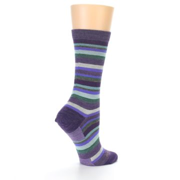 Image of Plum Purple Sassy Stripe Wool Women's Socks (side-1-back-22)