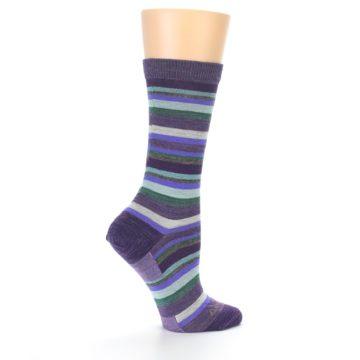 Image of Plum Purple Sassy Stripe Wool Women's Socks (side-1-23)