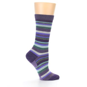 Image of Plum Purple Sassy Stripe Wool Women's Socks (side-1-24)