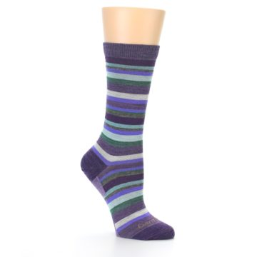 Image of Plum Purple Sassy Stripe Wool Women's Socks (side-1-26)