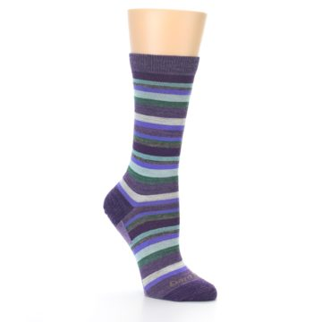 Image of Plum Purple Sassy Stripe Wool Women's Socks (side-1-27)