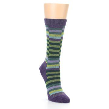 Image of Purple Offset Stripe Wool Women's Socks (side-1-front-02)
