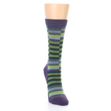 Image of Purple Offset Stripe Wool Women's Socks (side-1-front-03)