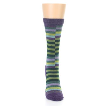 Image of Purple Offset Stripe Wool Women's Socks (front-04)