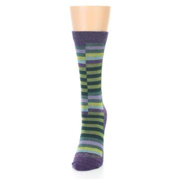 Image of Purple Offset Stripe Wool Women's Socks (side-2-front-06)