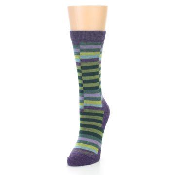 Image of Purple Offset Stripe Wool Women's Socks (side-2-front-07)
