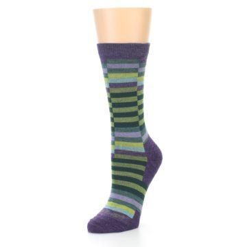 Image of Purple Offset Stripe Wool Women's Socks (side-2-front-08)