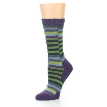 Image of Purple Offset Stripe Wool Women's Socks (side-2-09)