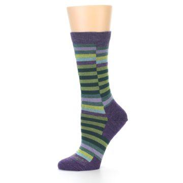 Image of Purple Offset Stripe Wool Women's Socks (side-2-10)