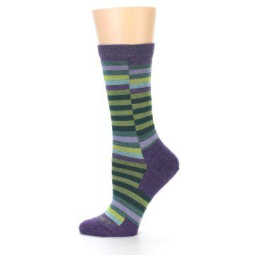 Image of Purple Offset Stripe Wool Women's Socks (side-2-11)