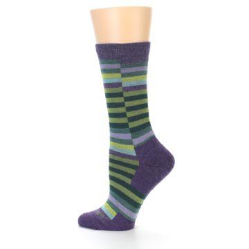 Image of Purple Offset Stripe Wool Women's Socks (side-2-12)