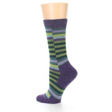 Image of Purple Offset Stripe Wool Women's Socks (side-2-13)