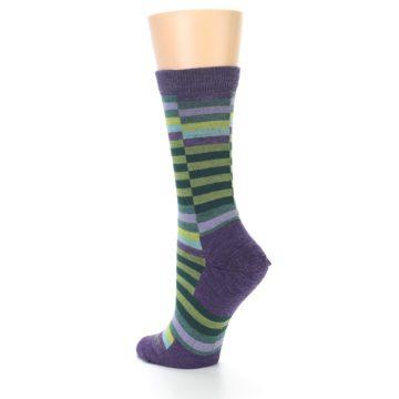 Image of Purple Offset Stripe Wool Women's Socks (side-2-back-14)