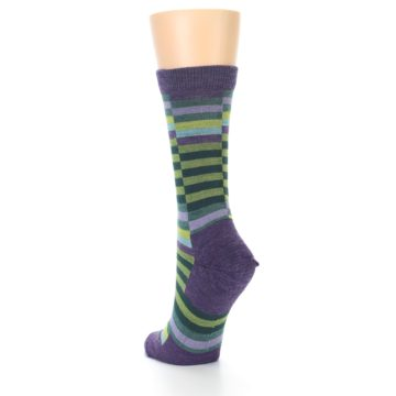 Image of Purple Offset Stripe Wool Women's Socks (side-2-back-15)