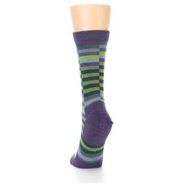 Image of Purple Offset Stripe Wool Women's Socks (side-2-back-16)