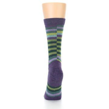 Image of Purple Offset Stripe Wool Women's Socks (back-17)