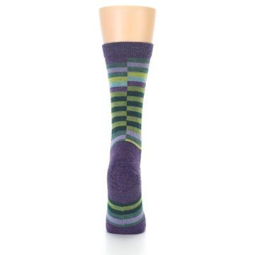 Image of Purple Offset Stripe Wool Women's Socks (back-18)