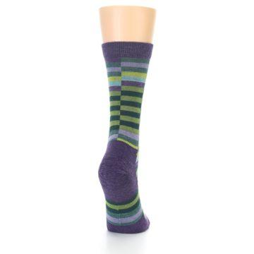 Image of Purple Offset Stripe Wool Women's Socks (back-19)