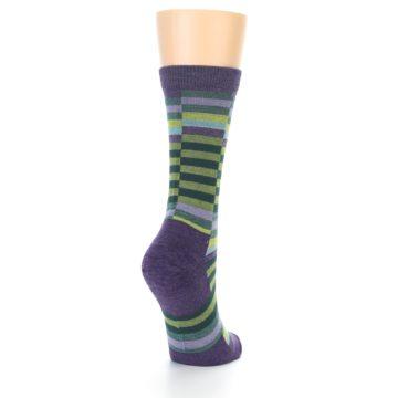 Image of Purple Offset Stripe Wool Women's Socks (side-1-back-20)