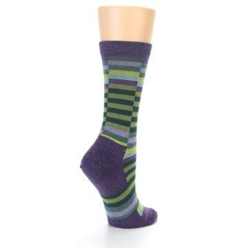 Image of Purple Offset Stripe Wool Women's Socks (side-1-back-21)