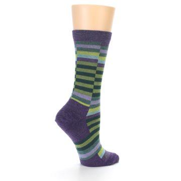 Image of Purple Offset Stripe Wool Women's Socks (side-1-back-22)