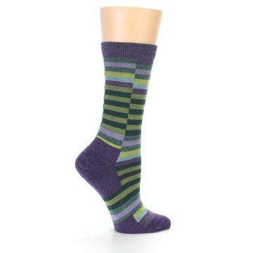Image of Purple Offset Stripe Wool Women's Socks (side-1-23)