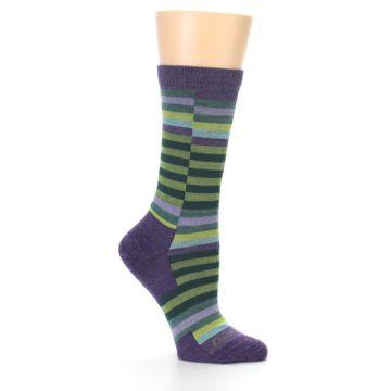 Image of Purple Offset Stripe Wool Women's Socks (side-1-25)
