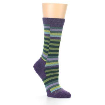Image of Purple Offset Stripe Wool Women's Socks (side-1-26)