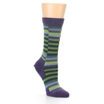 Image of Purple Offset Stripe Wool Women's Socks (side-1-27)