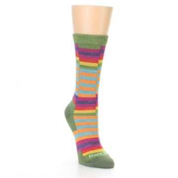 Image of Green Pink Offset Stripe Wool Women's Socks (side-1-front-02)