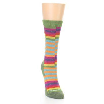 Image of Green Pink Offset Stripe Wool Women's Socks (side-1-front-03)