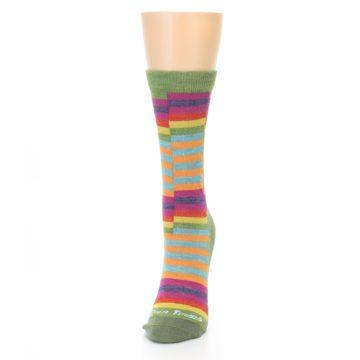 Image of Green Pink Offset Stripe Wool Women's Socks (side-2-front-06)