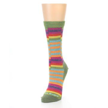 Image of Green Pink Offset Stripe Wool Women's Socks (side-2-front-07)