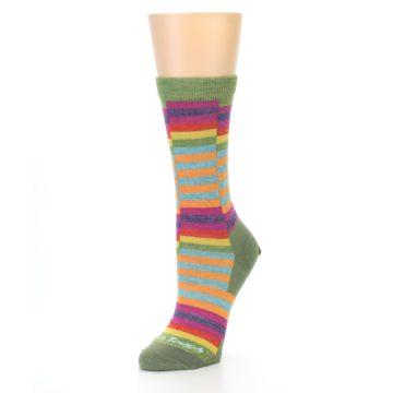 Image of Green Pink Offset Stripe Wool Women's Socks (side-2-front-08)