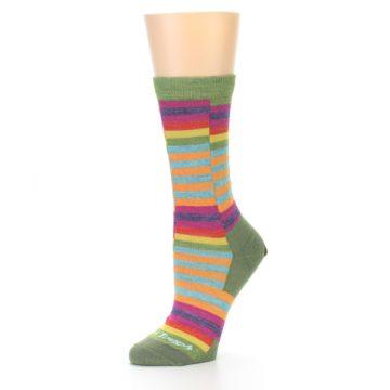 Image of Green Pink Offset Stripe Wool Women's Socks (side-2-09)