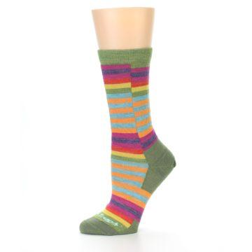 Image of Green Pink Offset Stripe Wool Women's Socks (side-2-10)