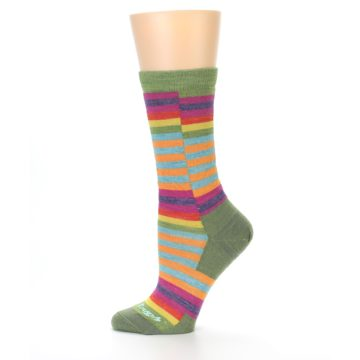 Image of Green Pink Offset Stripe Wool Women's Socks (side-2-11)