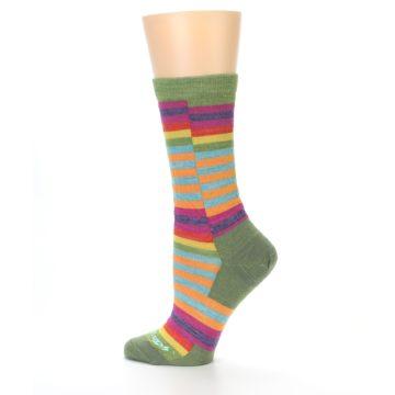 Image of Green Pink Offset Stripe Wool Women's Socks (side-2-12)