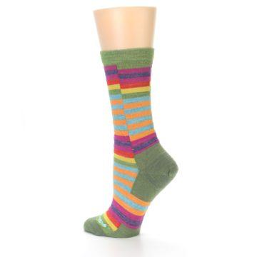 Image of Green Pink Offset Stripe Wool Women's Socks (side-2-13)