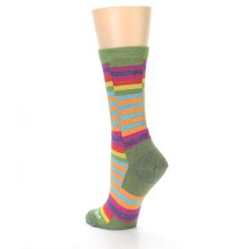 Image of Green Pink Offset Stripe Wool Women's Socks (side-2-back-14)