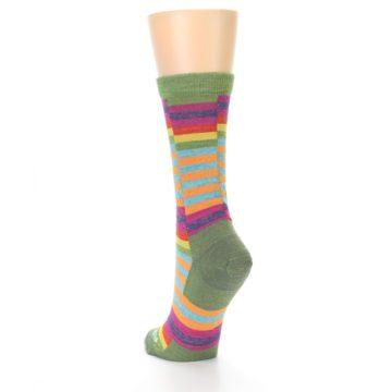 Image of Green Pink Offset Stripe Wool Women's Socks (side-2-back-15)