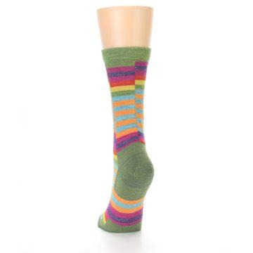 Image of Green Pink Offset Stripe Wool Women's Socks (side-2-back-16)