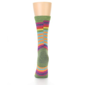 Image of Green Pink Offset Stripe Wool Women's Socks (back-17)
