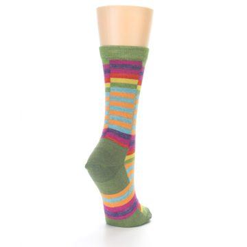 Image of Green Pink Offset Stripe Wool Women's Socks (side-1-back-20)