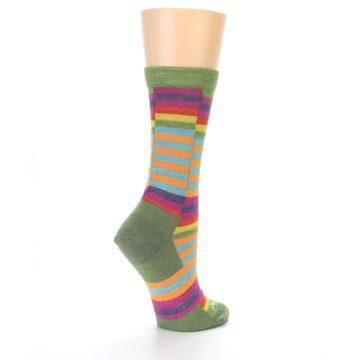 Image of Green Pink Offset Stripe Wool Women's Socks (side-1-back-21)
