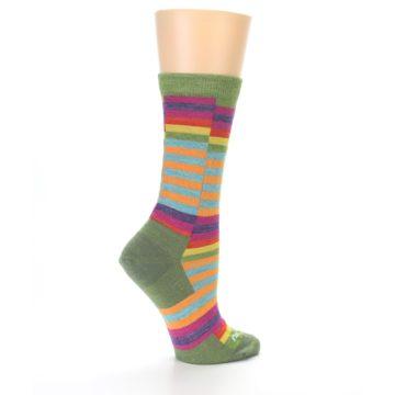 Image of Green Pink Offset Stripe Wool Women's Socks (side-1-back-22)